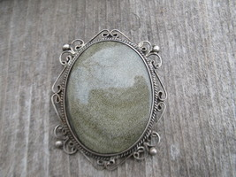 Vintage sterling silver Obsidian Pendant Brooch... - $99.00