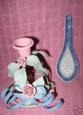 Victorian candle holder pink blue Stand Metal sturdy