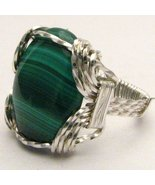 Wire Wrap Malachite 925 Silver Ring free sizing - $72.00