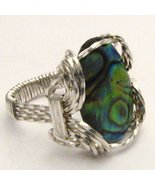 Wire Wrap Abalone Shell 925 Silver Ring free si... - $72.00