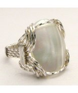 Wire Wrap Mother of Pearl 925 Silver Ring  free... - $72.00