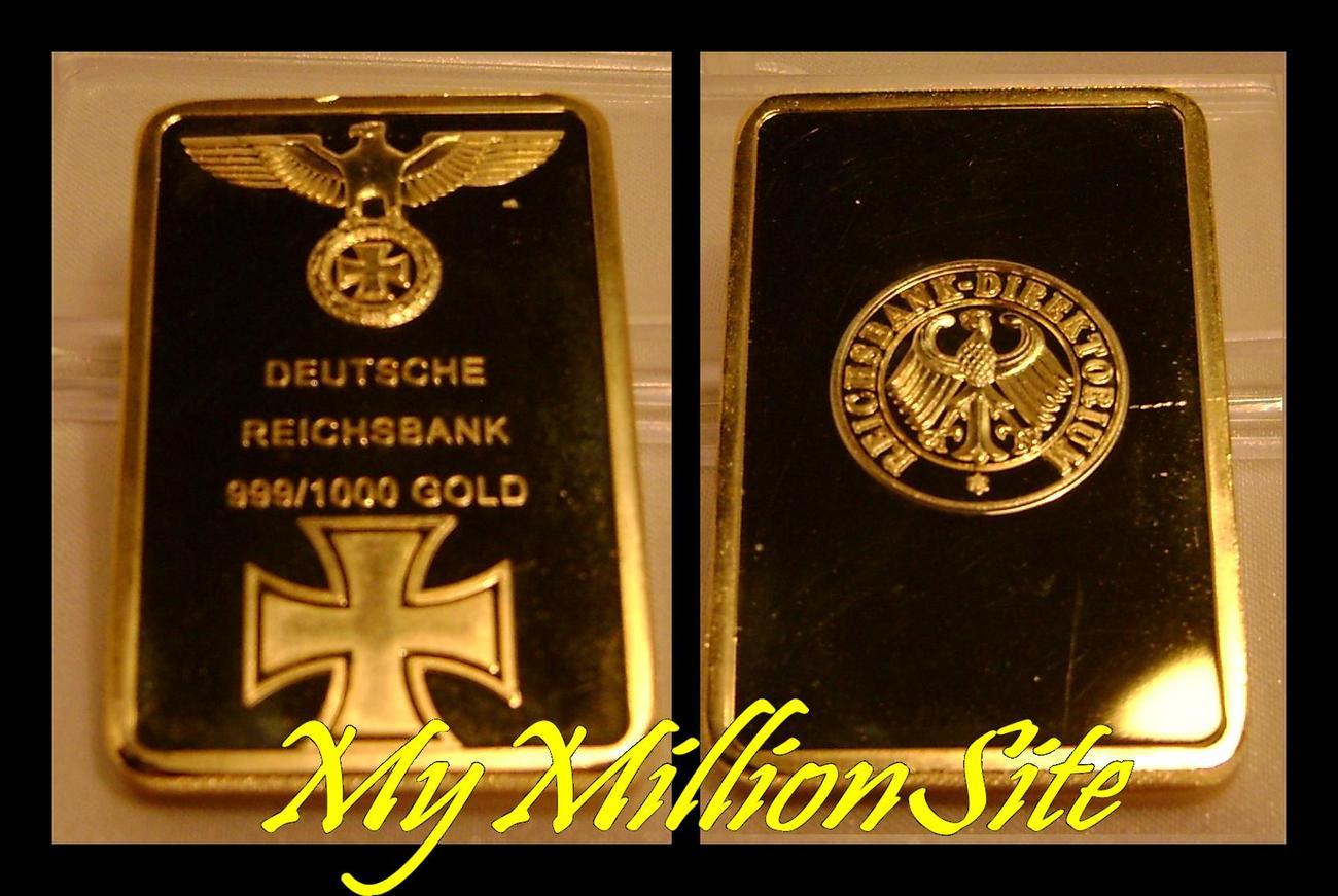 1oz 999 1000 Gold Deutsche Reichsbank German Nazi Iron