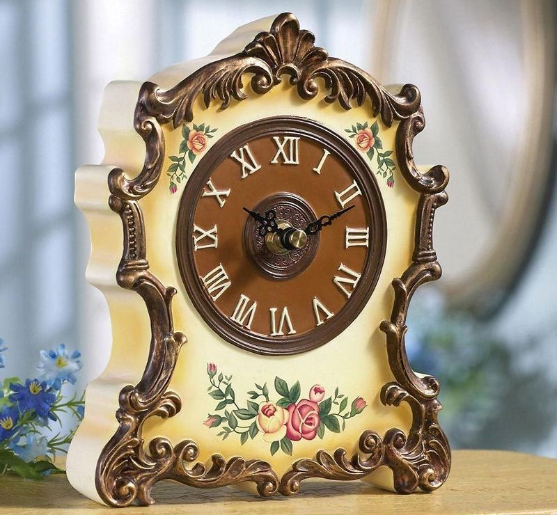 Image 0 of Antique Style Floral Table Clock W/ Gilded Trim