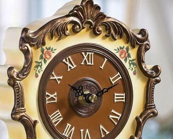 Image 1 of Antique Style Floral Table Clock W/ Gilded Trim