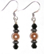 New Black Gold Glass Pearl Bead Silver Plated E... - $2.00