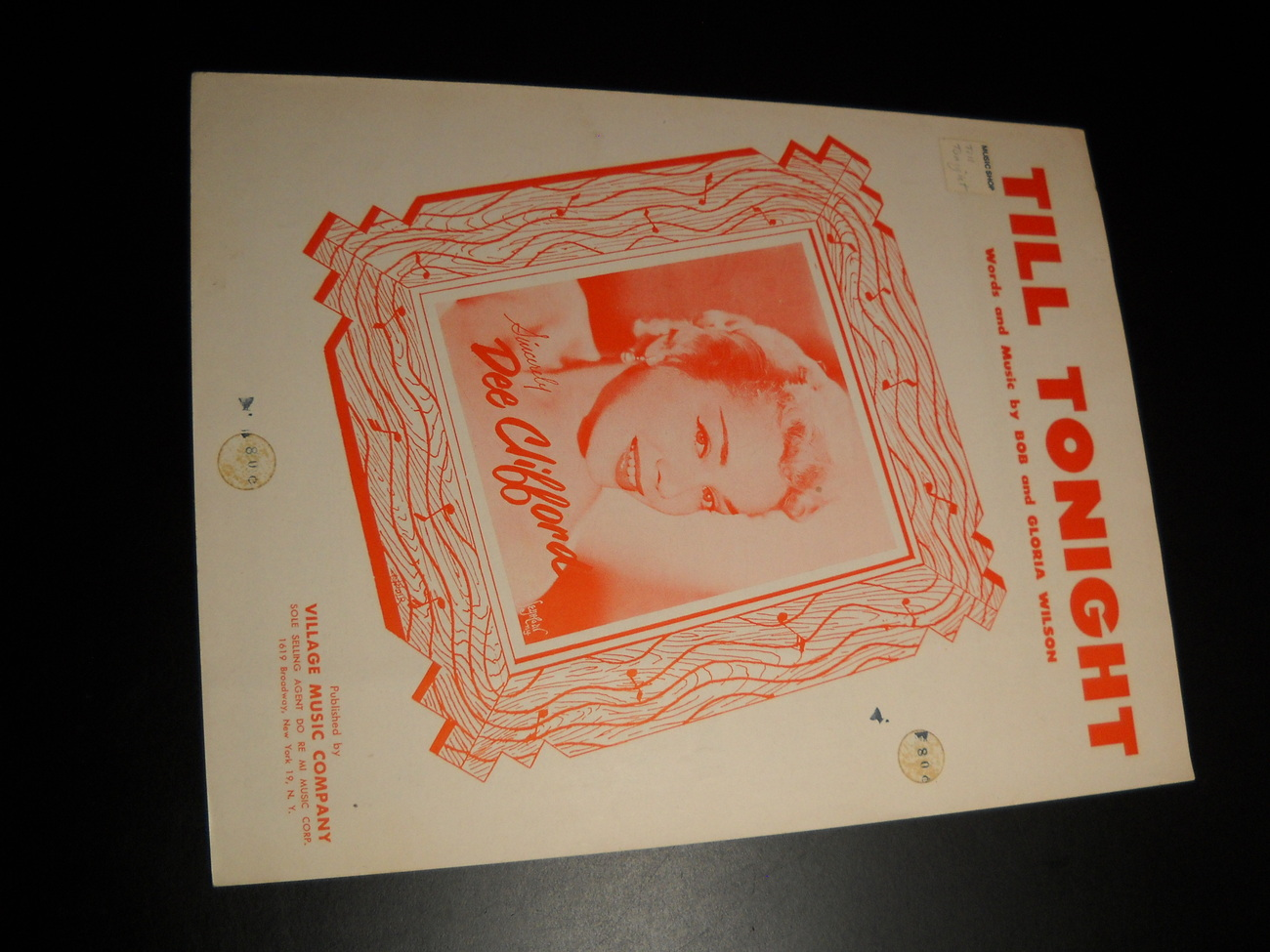 Sheet Music Till Tonight Dee Clifford Bob and Gloria Wilson 1940 Village Music