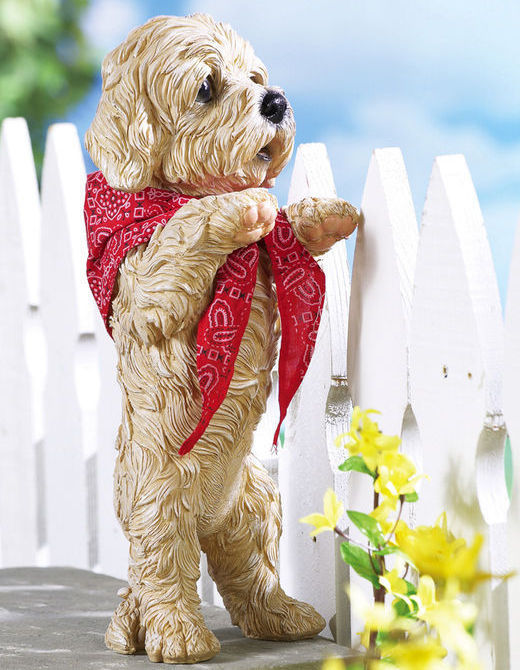 Peeping Puppy Standing Sculpture