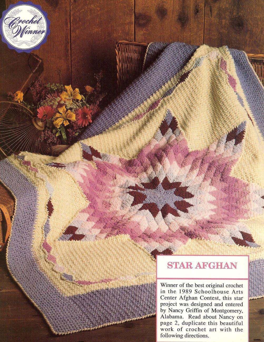 Crochet Afghan Patterns Quilt : PRIZE WINNING STAR QUILT AFGHAN CROCHET PATTERN~HTF - Afghans