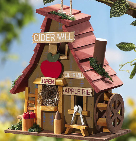 Wooden Hanging Apple Cider Mill Birdhouse