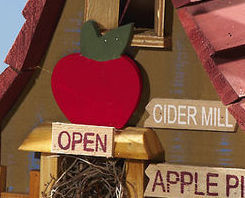 Image 2 of  Wooden Hanging Apple Cider Mill Birdhouse