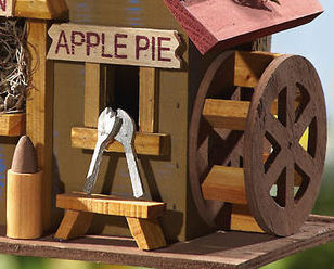 Image 4 of  Wooden Hanging Apple Cider Mill Birdhouse