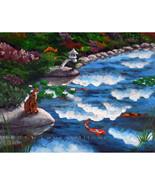 Calico Cat Japanese Garden Koi Pond Fish Zen La... - $299.00