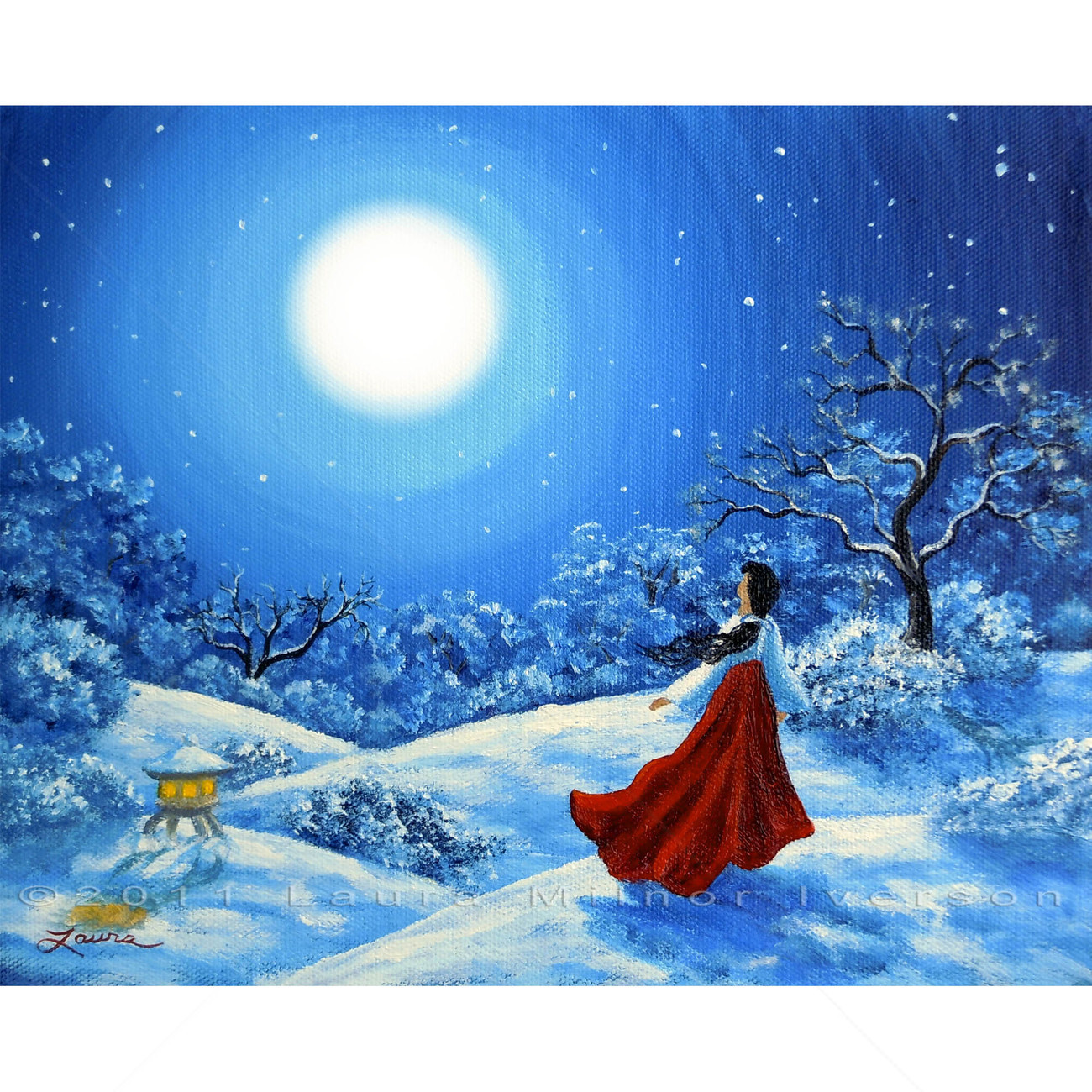 Original Painting Miko Winter Japanese Shinto Blue Moon Snow