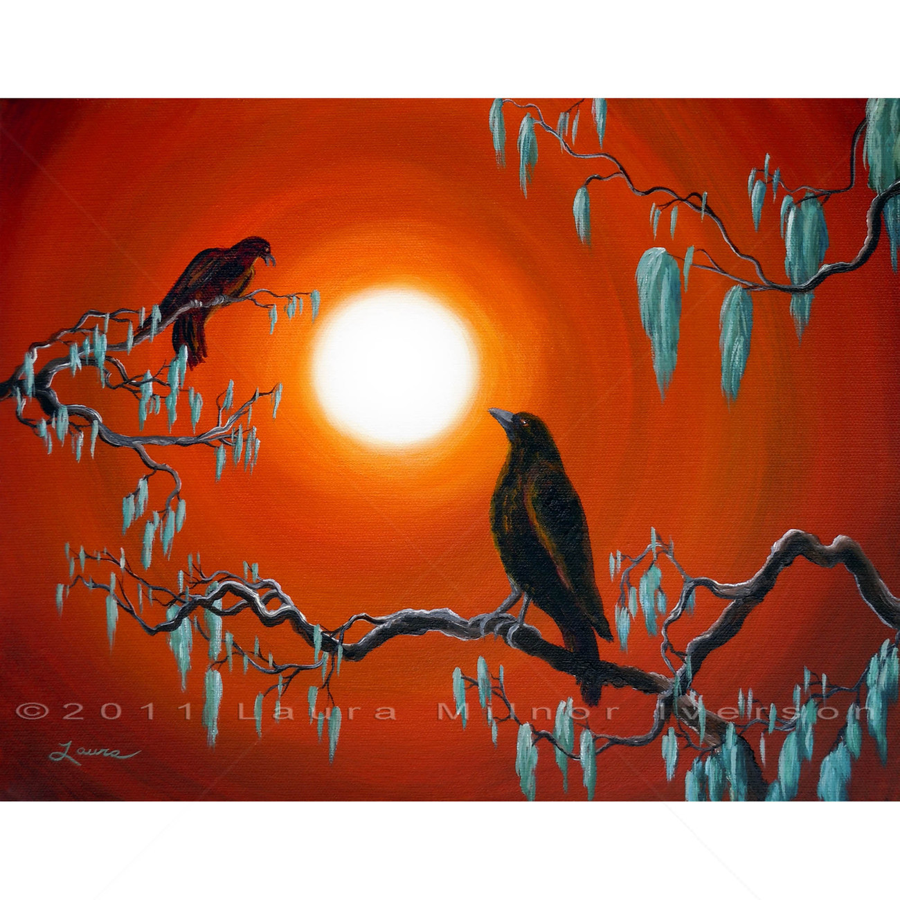Two Crows Raven Black Bird Orange Fine Art Original Painting