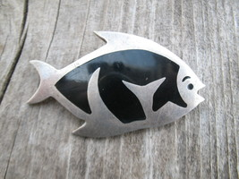 Vintage Taxco Mexico Sterling Silver Onyx Fish ... - $40.00