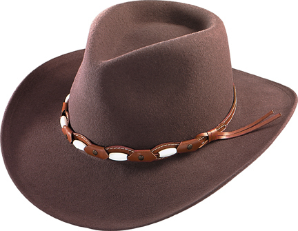 Henschel Hats 5171 Soft Lite Felt Western Outback Beaded Leather Band