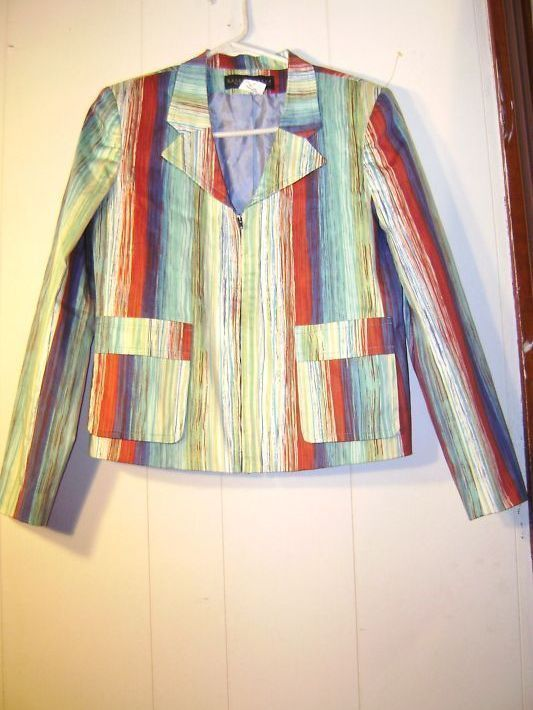 """Harve Benard"" multi-colored cotton zipper top..Size 8"