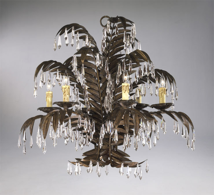 IRON CRYSTAL Palm 6 Light Chandelier, Hollywood Regency