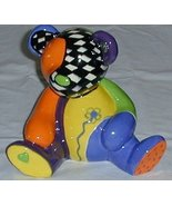 Colorful Hand Painted Ceramic Teddy Bear - $5.00