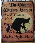 Witches Garden Sign Herbs Witchcraft Apothecary Fairy Cats Pixies Herbal Hippie