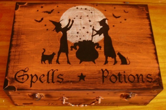 Witches Spells Potions Wood Chest Box purses Halloween Decor Wicca Witchcraft