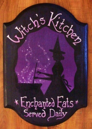 Witch's Kitchen Witch Sign Handpainted Plaque Witchcraft Folk Art Halloween Prim