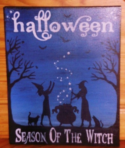 Primitive Witchcraft Sign Halloween Season of the Witch Cats Wicca Pagan Samhain