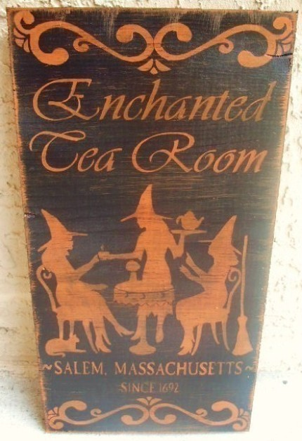 Enchanted Tea Room Primitive Witch Signs magic Plaques Witchcraft Cats Halloween