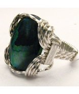Wire Wrap 925 Silver Green Paua Shell Ring any ... - $72.00
