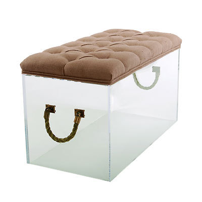 "LUCITE CUBE Rope Handles 36"" Bench, STOOL, Table, Acrylic, Tufted Linen Cushion!"