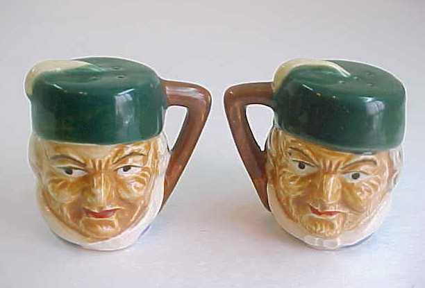 Vintage MK Japan Toby Jug Style Salt & Pepper Shakers-Men Wearing Fez Style Hats