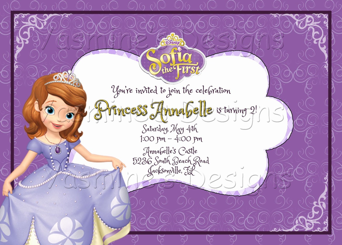 Sofia The First Printable Birthday Invitation Princess