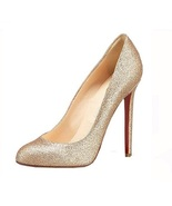 NWT Women's Gold Upper Red sole Stiletto 4.5 in... - $64.00
