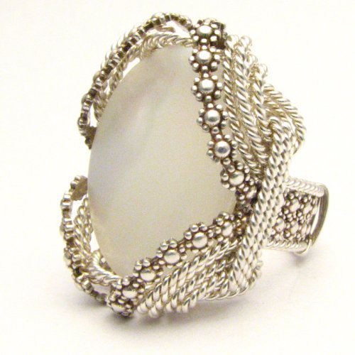 Wire Wrap Berry Wire Mother of Pearl Silver Ring
