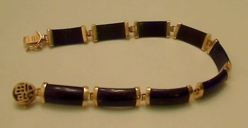 "Fine Estate Lapis Lazuli Solid 14k Yellow Gold 7"" Bracelet"