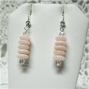 Pink Mother of Pearl   Sterling Silver Earrings