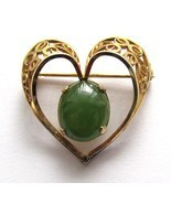 12k Gold Filled Heart Pin With Green Cabochon S... - $37.00