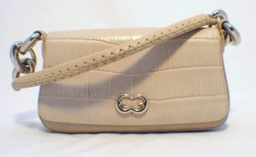 Escada Beige Embossed Alligator Handbag