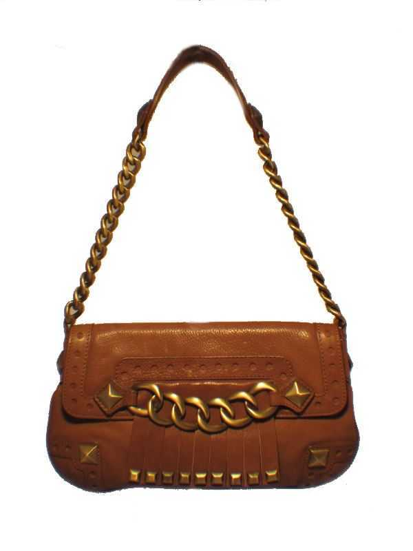 Michael Kors Brown Leather and Brass Shoulder Bag