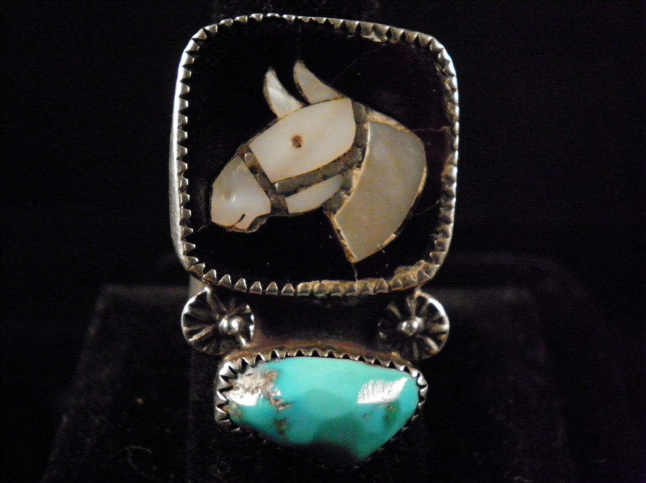 Vintage 70s Sterling Zuni Inlay Ring By Leekity W/ APPRAISAL