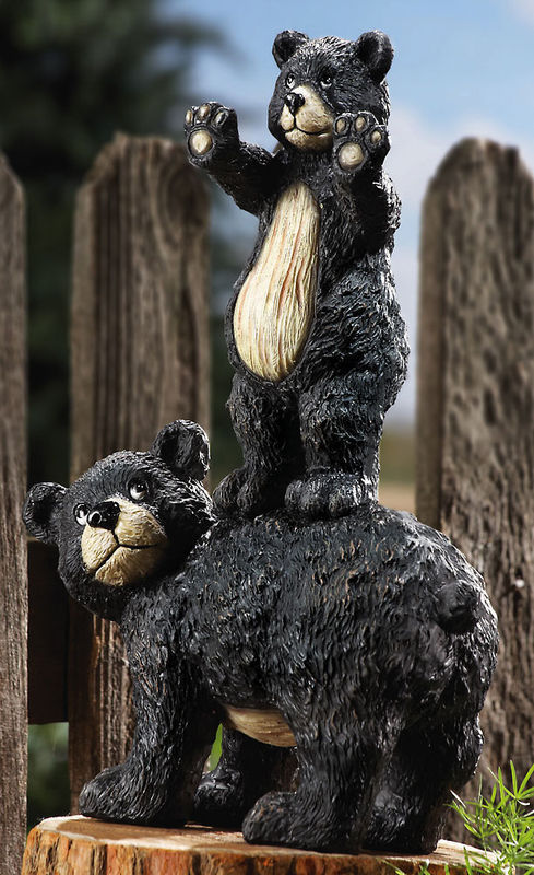 Image 0 of Cub And Mother Bear Garden Statue Figurine Peeping Bears