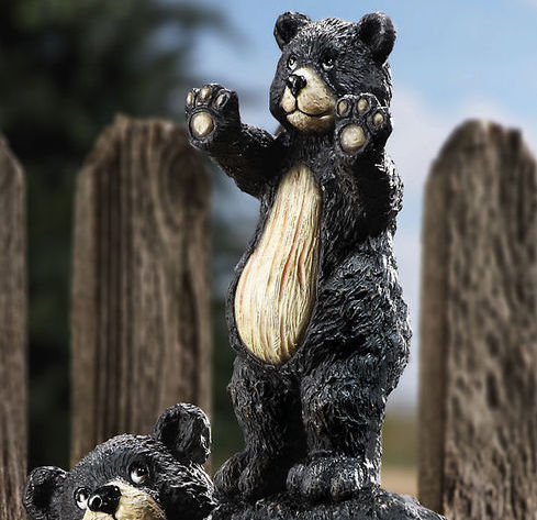 Image 1 of Cub And Mother Bear Garden Statue Figurine Peeping Bears