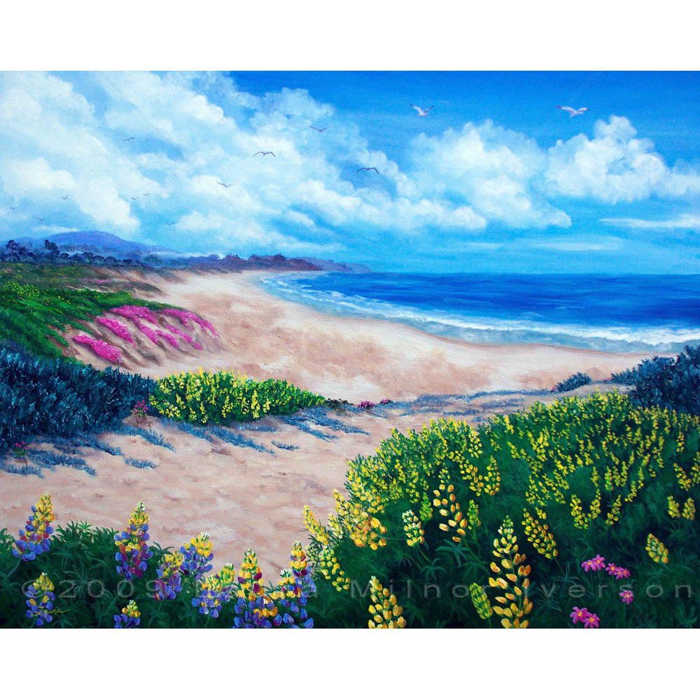 Half Moon Bay Flowers California Seascape Ocean Coastline Original Painting Art
