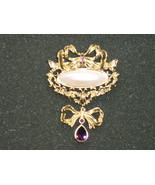 Large Dressy Avon Brooch / Pin - Faux Pearl & A... - $10.00