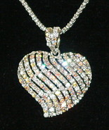 Swarovski Clear Crystal Heart Silvertone Pendant Necklace
