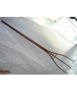 primitive wood hay fork antique farm tool