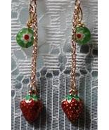 Strawberry Charm & Millefiore Dangling Earring... - $15.00