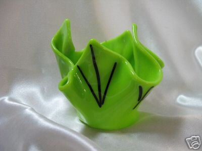 Fused ARt Glass Desk Dish - Lime w/Black - joyful