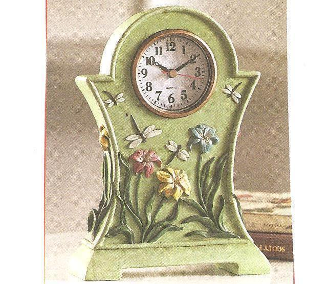 Green Dragonfly Table Clock