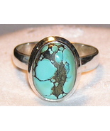 Spider Matrix Turquoise and Sterling Silver Ri... - $29.00